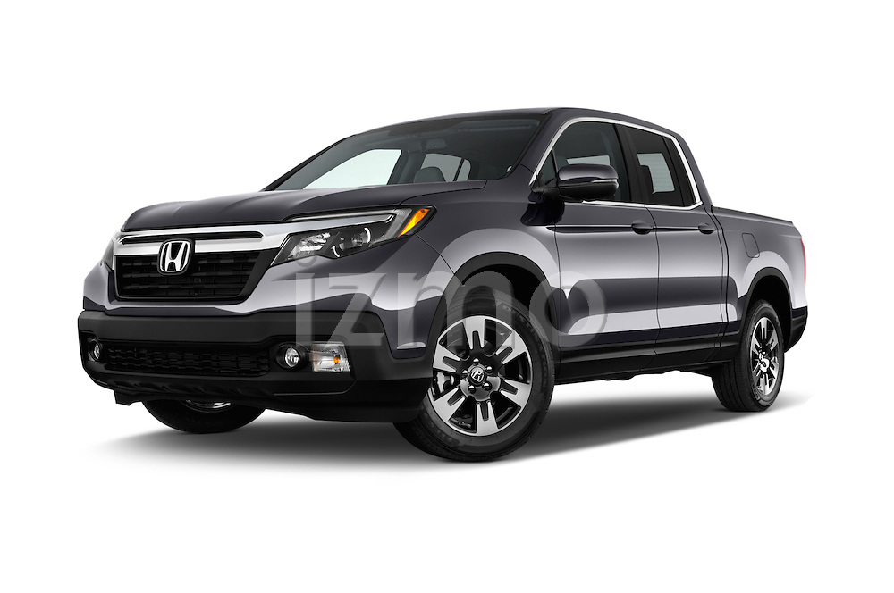 Stock pictures of low aggressive front three quarter view of 2017 Honda Ridgeline RTL-T 4 Door Pick-up Low Aggressive