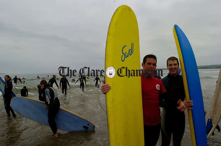 Surfers from all over gather in North Clare to take part  in the Lahinch Surfschool Crew's Surfing World Record Festival at Lahinch beach. Photograph by John Kelly.