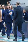 Real Madrid coach Pablo Laso and San Pablo Burgos coach Diego Epifanio during Liga Endesa match between Real Madrid and San Pablo Burgos at Wizink Center in Madrid , Spain. March 04, 2018. (ALTERPHOTOS/Borja B.Hojas)