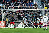 WASHINGTON, DC - MARCH 07: Eric Sorga #50 of DC United watches a shot from Frédéric Brillant #13 go inro the net for DC United winning goal during a game between Inter Miami CF and D.C. United at Audi Field on March 07, 2020 in Washington, DC.