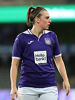 20190912 - Anderlecht , BELGIUM : Anderlecht's  Britt Vanhamel is pictured during the female soccer game between the Belgian Royal Sporting Club Anderlecht Dames  and BIIK Kazygurt from Shymkent in Kazachstan, this is the first leg in the round of 32 of the UEFA Women's Champions League season 2019-20120, Thursday 12 th September 2019 at the Lotto Park in Anderlecht , Belgium. PHOTO SPORTPIX.BE | SEVIL OKTEM