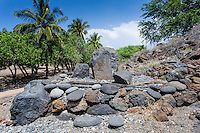 Stone leaning post near Pu'ukohola heiau, Big Island, Hawaii