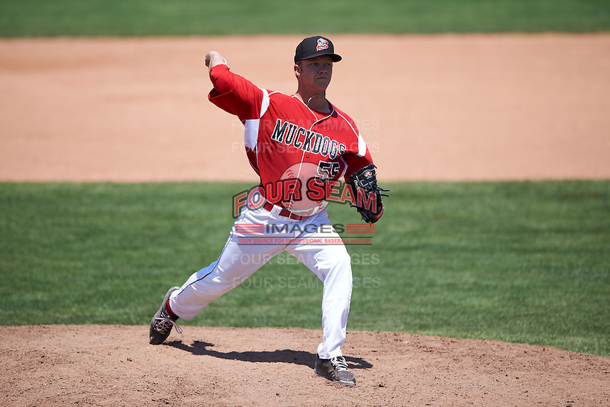 Batavia Muckdogs pitcher Steven Farnworth (55) delivers a pitch during a game against the Williamsport Crosscutters on July 16, 2015 at Dwyer Stadium in Batavia, New York.  Batavia defeated Williamsport 4-2.  (Mike Janes/Four Seam Images)