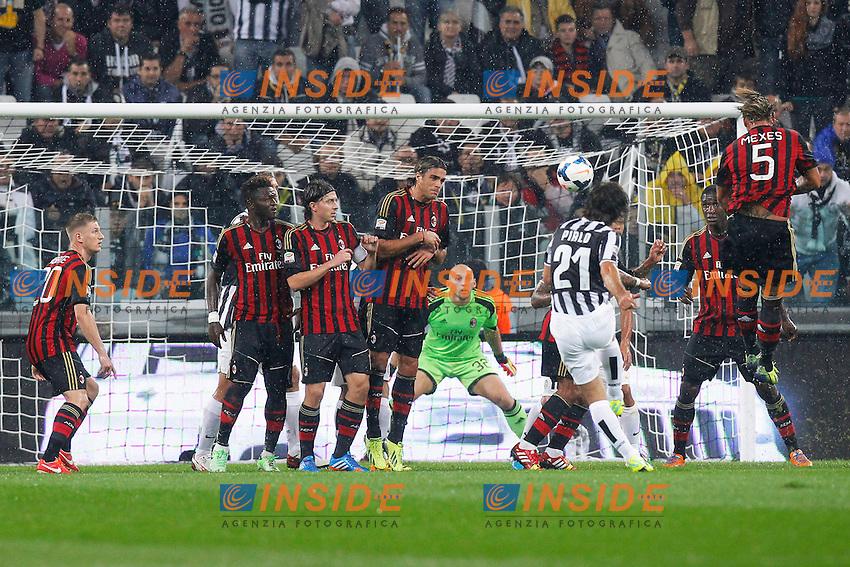 Gol di Andrea Pirlo Juventus,<br /> Torino 06-10-2013<br /> Juventus Stadium <br /> Football Calcio 2013/2014 Serie A <br /> Juventus - Milan<br /> Foto Marco Bertorello Insidefoto