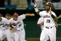 South Carolina's Jackie Bradley Jr.  scores the winning run in Game 10 of the NCAA Division One Men's College World Series on June 24th, 2010 at Johnny Rosenblatt Stadium in Omaha, Nebraska.  (Photo by Andrew Woolley / Four Seam Images)