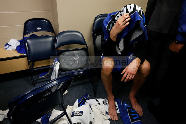 Kentucky Wildcats forward Derek Willis reacts after they lost to the North Carolina Tar Heels during the 2017 NCAA Men's Basketball Tournament South Regional Elite 8 at FedExForum in Memphis, TN on Friday March 24, 2017. Photo by Michael Reaves | Staff