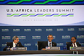 United States President Barack Obama takes his seat next to  Tanzanian President Jakaya Mrisho Kikwete (Right) and Cabo Verde President Jorge Carlos de Almeida Fonseca before participating in ìLeaders Session Three: Governing the Next Generation,î during the Africa Leaders Summit at the State Department in Washington, DC, August 6, 2014.  Obama is promoting business relationships between the United States and African countries during the three-day U.S.-Africa Leaders Summit, where 49 heads of state are meeting in Washington.  <br /> Credit: Molly Riley / Pool via CNP