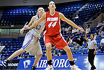 10 January 2009:  New Mexico center, Angela Hartill (44), controls the lane against Falcon, Kathleen Schjodt (33), during the Lobos 73-39 victory over Mountain West Conference rival Air Force at Clune Arena, U.S. Air Force Academy, Colorado Springs, Colorado.