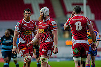 Saturday 10 May 2014<br /> Pictured: (l-r) Aaron Shingler, Jake Ball  and Rob McCusker of the Scarlets <br /> Re: Scarlets v Blues Rabo Direct Pro 12 Rugby Union Match at Parc y Scarlets, Llanelli, Wales