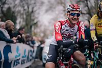 a relaxed Tim Wellens (BEL/Lotto-Soudal) pre-race<br /> <br /> 74th Omloop Het Nieuwsblad 2019 <br /> Gent to Ninove (BEL): 200km<br /> <br /> ©kramon