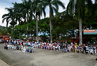 """PALERMO COLOMBIA - APRIL 29: People attend the """"frutos de mi Tierra"""" forum on April 29, 2017 in Palermo, Antioquia. The Anti mining forum it's taking place in the town as environmental concerns arise in reaction of the threat from South African miner AngloGold Ashanti plans to develop a open-pit gold mines in the central Colombian region.  Photo by VIEWpress/Guillermo Betancur"""