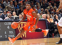 Clemson guard Rod Hall (12) drives down court during the game against Virginia Thursday in Charlottesville, VA.