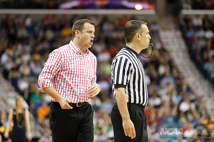 07 Apr 2013:  University of Louisville Women's Basketball head coach Jeff Walz yells during the first semifinal matchup of the 2013 Division I Women's Final Four in New Orleans, LA between Louisville and the University of California.  Louisville defeated California by a score of 64-57.  ©Trevor Brown, Jr./NCAA Photos