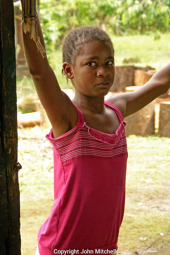 Garifuna girl in the Garifuna village of Triunfo de la Cruz, Honduras...