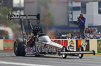 Apr 10, 2015; Las Vegas, NV, USA; NHRA top fuel driver Dave Connolly during qualifying for the Summitracing.com Nationals at The Strip at Las Vegas Motor Speedway. Mandatory Credit: Mark J. Rebilas-