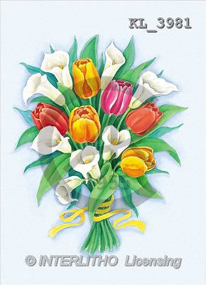 Interlitho, Dani, FLOWERS, paintings, tulips, callas(KL3981,#F#) stickers Blumen, flores, illustrations, pinturas ,everyday
