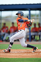 GCL Astros center fielder Gilberto Celestino (3) at bat during a game against the GCL Nationals on August 14, 2016 at the Carl Barger Baseball Complex in Viera, Florida.  GCL Nationals defeated GCL Astros 8-6.  (Mike Janes/Four Seam Images)