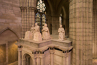 Funerary monument of Francois I, 1494-1547, and Claude of France, 1548-70, in marble, by Pierre Bontemps, 1505-68, commissioned by Henry II, in the Basilique Saint-Denis, Paris, France. The basilica is a large medieval 12th century Gothic abbey church and burial site of French kings from 10th - 18th centuries. Picture by Manuel Cohen