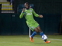 Steve Zakuani of Sounders in action during the game against the Earthquakes at Buck Shaw Stadium in Santa Clara, California on April 2nd, 2011.   San Jose Earthquakes and Seattle Sounders are tied 2-2.