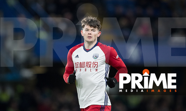 Oliver Burke of WBA during the Premier League match between Chelsea and West Bromwich Albion at Stamford Bridge, London, England on 12 February 2018. Photo by Andy Rowland.