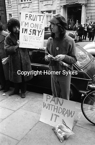 "Gay Liberation Front. Demonstration by Gay and Lesbian activitists against Pan books. Central London 1971. Sex Doctor David Reuben publication of his book ""Everything you want to know about sex"""