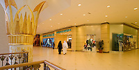 Dubai. Wafi Mall, an up market shopping centre/center with a new extension in an Egyptian style.  Marks & Spencer store..