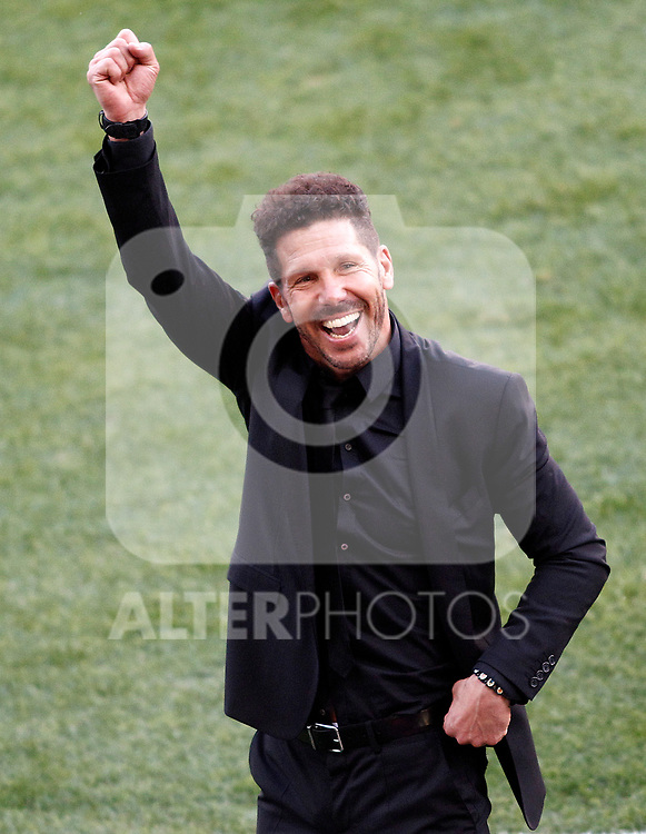 Atletico de Madrid's coach Diego Pablo Cholo Simeone celebrate goal during La Liga match. March 19,2017. (ALTERPHOTOS/Acero)