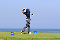 Laurie Canter (ENG) during the first round of the NBO Open played at Al Mouj Golf, Muscat, Sultanate of Oman. <br /> 15/02/2018.<br /> Picture: Golffile | Phil Inglis<br /> <br /> <br /> All photo usage must carry mandatory copyright credit (&copy; Golffile | Phil Inglis)