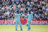 Jason Roy (England) congratulates Jonny Bairstow (England) on his half century during England vs Bangladesh, ICC World Cup Cricket at Sophia Gardens Cardiff on 8th June 2019