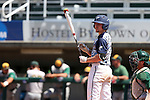 02 June 2016: Nova Southeastern's Daniel Zardon checks for signals before batting. The Nova Southeastern University Sharks played the Cal Poly Pomona Broncos in Game 11 of the 2016 NCAA Division II College World Series  at Coleman Field at the USA Baseball National Training Complex in Cary, North Carolina. Nova Southeastern won the semifinal game 4-1 and advanced to the championship series.