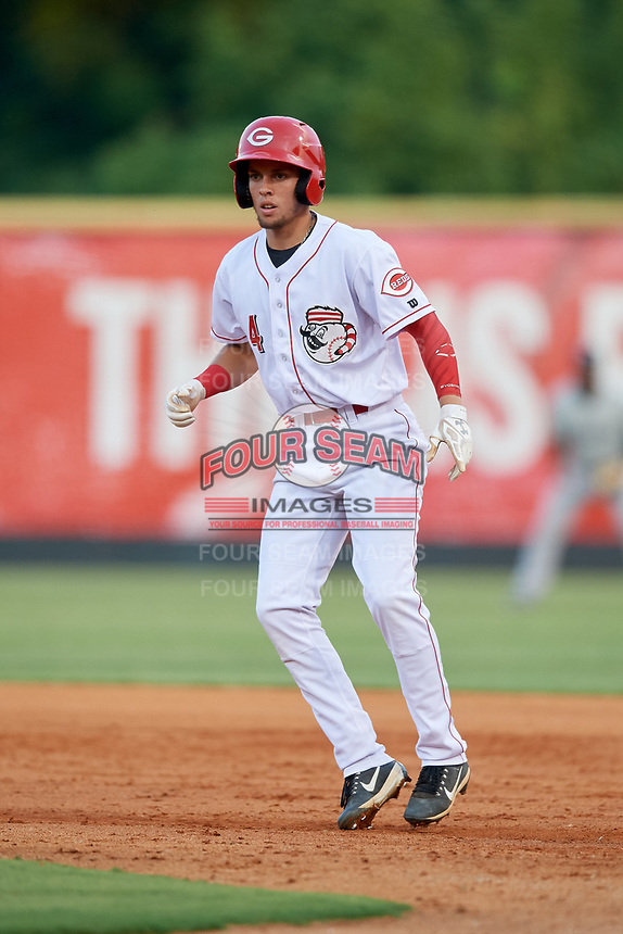 Greeneville Reds third baseman Claudio Finol (4) leads off first base during a game against the Pulaski Yankees on July 27, 2018 at Pioneer Park in Tusculum, Tennessee.  Greeneville defeated Pulaski 3-2.  (Mike Janes/Four Seam Images)