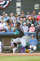 Lynchburg Hillcats catcher Sicnarf Loopstok (7) at bat during a game against the Myrtle Beach Pelicans at Ticketreturn Field at Pelicans Ballpark on April 15, 2017 in Myrtle Beach, South Carolina. Lynchburg defeated Myrtle Beach 5-3. (Robert Gurganus/Four Seam Images)