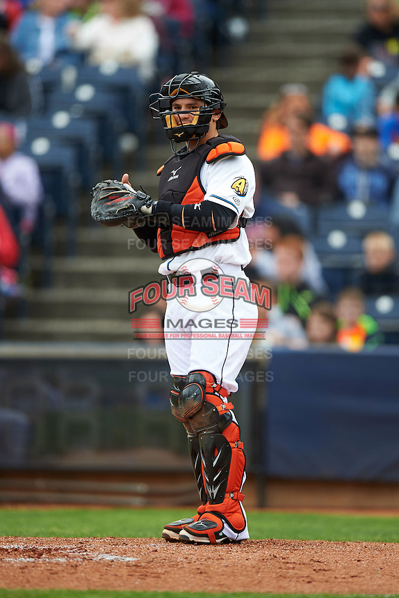 Akron RubberDucks catcher Tony Wolters (1) during a game against the New Britain Rock Cats on May 21, 2015 at Canal Park in Akron, Ohio.  Akron defeated New Britain 4-2.  (Mike Janes/Four Seam Images)