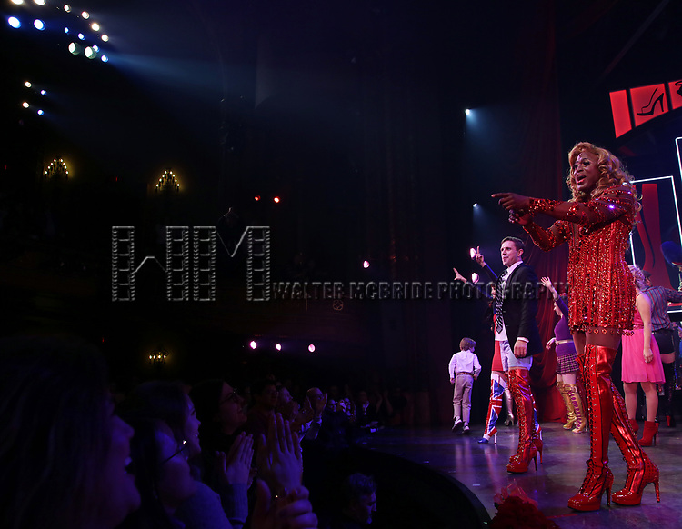 "Jake Shears and Wayne Brady during the Curtain Call for Wayne Brady's return to ""Kinky Boots"" on Broadway on March 5, 2018 at the Hirschfeld Theatre in New York City."