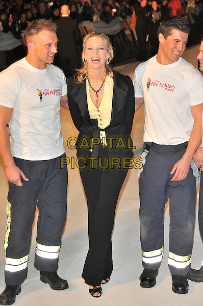 "UMA THURMAN..""The Accidental Husband"" UK premiere in aid of The Fire Service National Benevolent Fund..Vue West End cinema Leicester Square, London, England..13th February 2008...full length black suit jacket trousers fire men fighters..CAP/PL..?Phil Loftus/Capital Pictures"