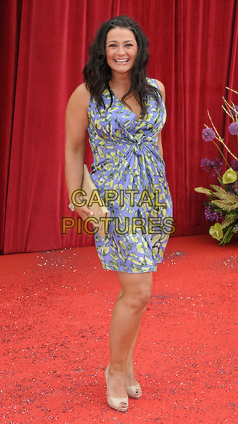 NATALIE J ROBB .At the British Soap Awards 2011, Granada TV Studios, Manchester, England, UK, MaY 14th 2011..arrivals full length blue yellow print dress  peep toe beige shoes .CAP/CAN.©Can Nguyen/Capital Pictures.