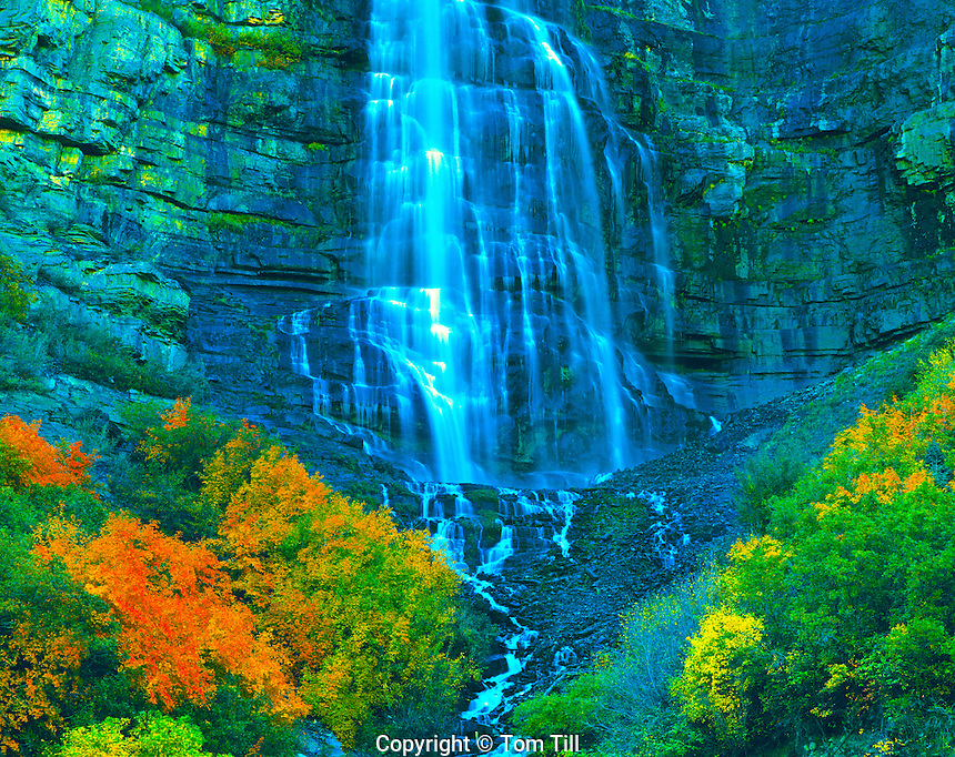 Autumn Colors at Bridalveil Falls, Provo Canyon, Wasatch Mountains, Utah   Uinta National Forest