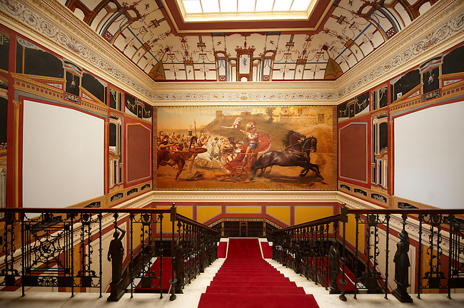 Stairway with painting of Acullies at the Achilleion  [ Achilles, ???????? ]  Palace [ 1890 built by Elizabeth [ Sissi ] Emperess of Austria
