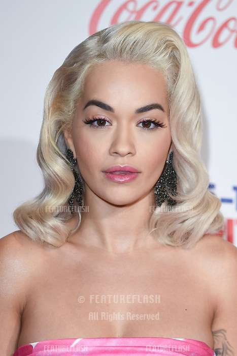 LONDON, UK. December 08, 2018: Rita Ora at Capital's Jingle Bell Ball 2018 with Coca-Cola, O2 Arena, London.<br /> Picture: Steve Vas/Featureflash