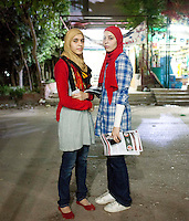 Twins Rawan and Rawda are among the youngest in the Nasr City's Muslim Sisters group. Cairo, June 10th, 2012.