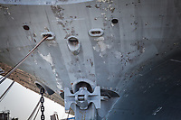 Bow of the USS Hornet.  With imagination, a face:  eyes, nose and mouth.  Horizontal close-up.
