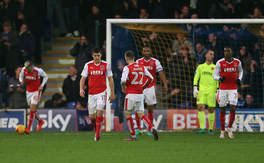 Dejection for Fleetwood after AFC Wimbledon's first goal<br /> <br /> Photographer Rob Newell/CameraSport<br /> <br /> The EFL Sky Bet League One - AFC Wimbledon v Fleetwood Town - Saturday 26th November 2016 - The Cherry Red Records Stadium - London<br /> <br /> World Copyright &copy; 2016 CameraSport. All rights reserved. 43 Linden Ave. Countesthorpe. Leicester. England. LE8 5PG - Tel: +44 (0) 116 277 4147 - admin@camerasport.com - www.camerasport.com