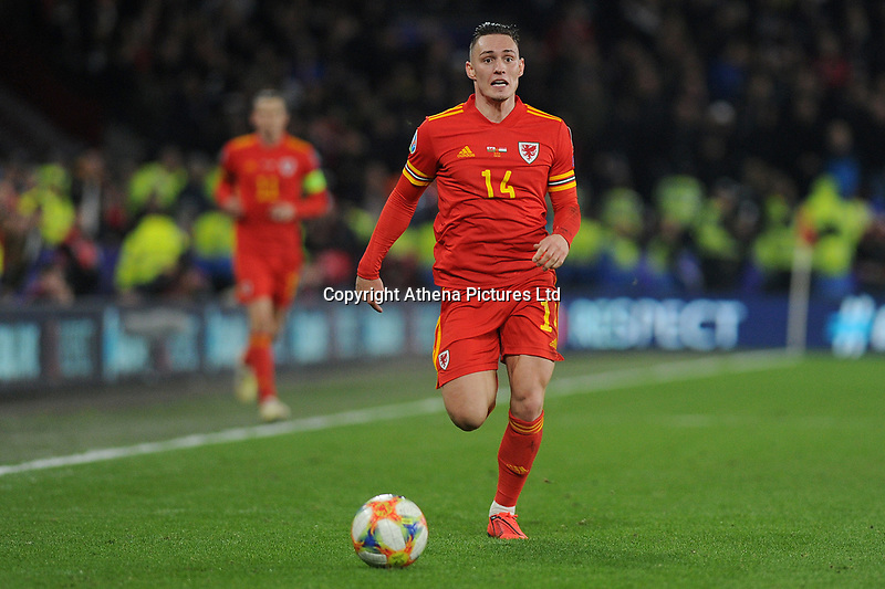 Connor Roberts of Wales in action during the UEFA Euro 2020 Group E Qualifier match between Wales and Hungary at the Cardiff City Stadium in Cardiff, Wales, UK. Tuesday 19th November 2019