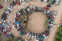 Aerial view decredondel or area rodeo or jaripeo durnate the afternoon of sabaso of glory of Holy Week 2019.<br /> Rodeo riders ride bulls in a cmpeticion in Cuquiarachic, Sonora, Mexico. The community of Cuquiarachic, was founded in 1934. It is a small town located in the tip of the mountain belonging to the municipality of Frontera Sonora (Photo: LuisGutierrez / NortePhoto)<br /> <br /> <br /> Vista A&eacute;rea decredondel o area de rodeo o jaripeo durnate la tarde de sabaso de gloria de la  Semana Santa 2019.<br /> Jjinetes de rodeo montan toros en una cmpeticion en Cuquiarachic, Sonora, M&eacute;xico.  La comunidad de Cuquiarachic, fue fundada en 1934 es un pueblito enclavado en la punta de la sierra perteneciente al minicipio de Fronteras Sonora (Photo:LuisGutierrez/NortePhoto)