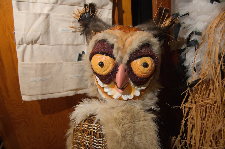 Holly Cole's class meets at the costume shop at 025 Kantner.The class is preparing animal masks for a high school production in Texas. ..17329