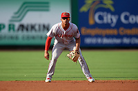 Florida Fire Frogs shortstop Ray-Patrick Didder (13) during a game against the Clearwater Threshers on June 1, 2018 at Spectrum Field in Clearwater, Florida.  Florida defeated Clearwater 12-10.  (Mike Janes/Four Seam Images)