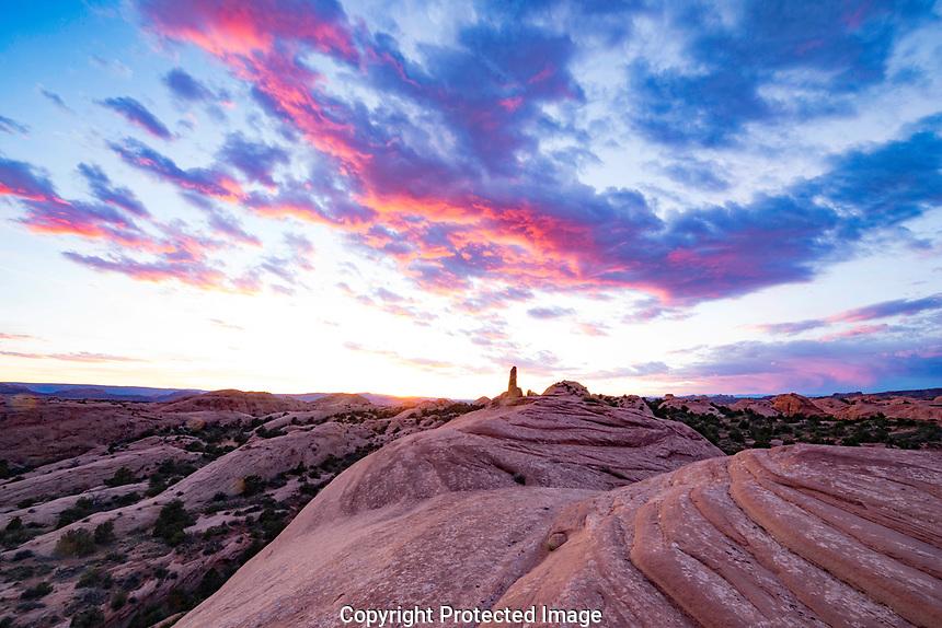 Rock fins at sunset near Milll Creek, Sand Flats Recreation Area, Utah,  Near Moab, Utah. Mummy Cave Trail