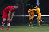 Calvin Ekpiteta of Merstham scores the first goal for his team and celebrates during Hornchurch vs Merstham, BetVictor League Premier Division Football at Hornchurch Stadium on 15th February 2020