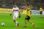 09.03.2019, Signal Iduna Park, Dortmund, GER, 1.FBL, Borussia Dortmund vs VfB Stuttgart, DFL REGULATIONS PROHIBIT ANY USE OF PHOTOGRAPHS AS IMAGE SEQUENCES AND/OR QUASI-VIDEO<br /> <br /> im Bild   picture shows:<br /> Emiliano Insua (VfB Stuttgart #2) gegen Mario Goetze (Borussia Dortmund #10), <br /> <br /> Foto &copy; nordphoto / Rauch