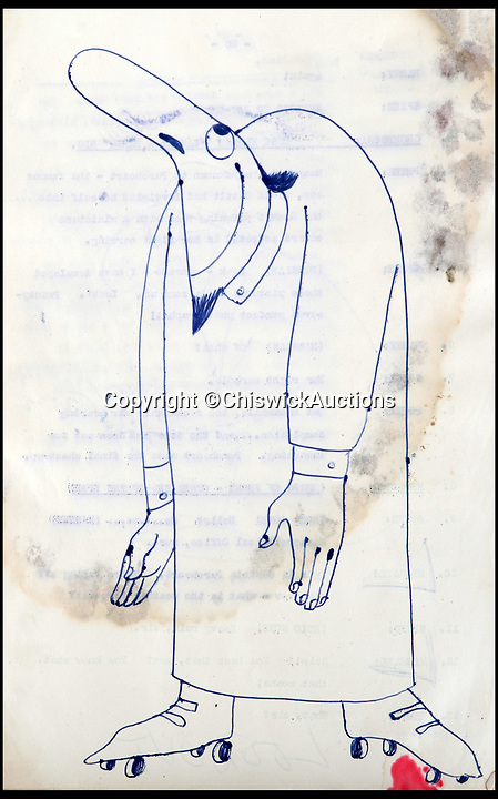 BNPS.co.uk (01202)558833Pic:  ChiswickAuctions/BNPS<br /> <br /> Spike Milligan's doodles from the script for 'Crazy People'.<br /> <br /> Mementos from the career of Spike Milligan including a lost script are being sold by his long-time agent.<br /> <br /> Norma Farnes, 85, worked for the legendary entertainer for four decades and kept hold of several keepsakes, including a script for 'Crazy People', a radio comedy staring Milligan alongside Michael Bentine and Peter Sellers.<br /> <br /> The episode was broadcast in July 1951, with the show going on to a huge hit under a new name 'The Goon Show'.<br /> <br /> No recordings of the episode have survived and it is believed that this the first time a Crazy People script has emerged for auction.